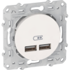 ODACE - CHARGEUR DOUBLE USB - BLANC